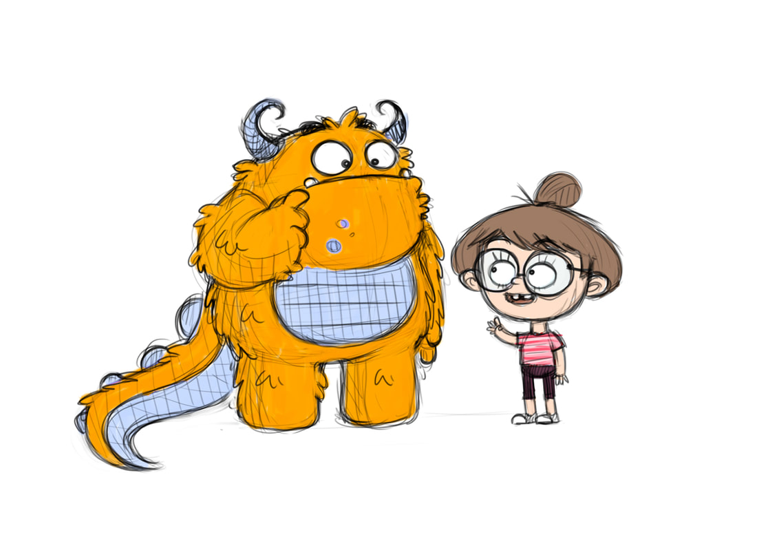 coloured illustration with a black outline of a yellow monster with tail and horns being perplexed while talks with a girl with glasses and brown hairs dressed in red