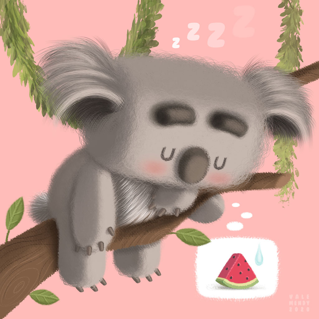 grey and furry koala sleeping on branch and dreaming of a fresh watermelon in a pink background