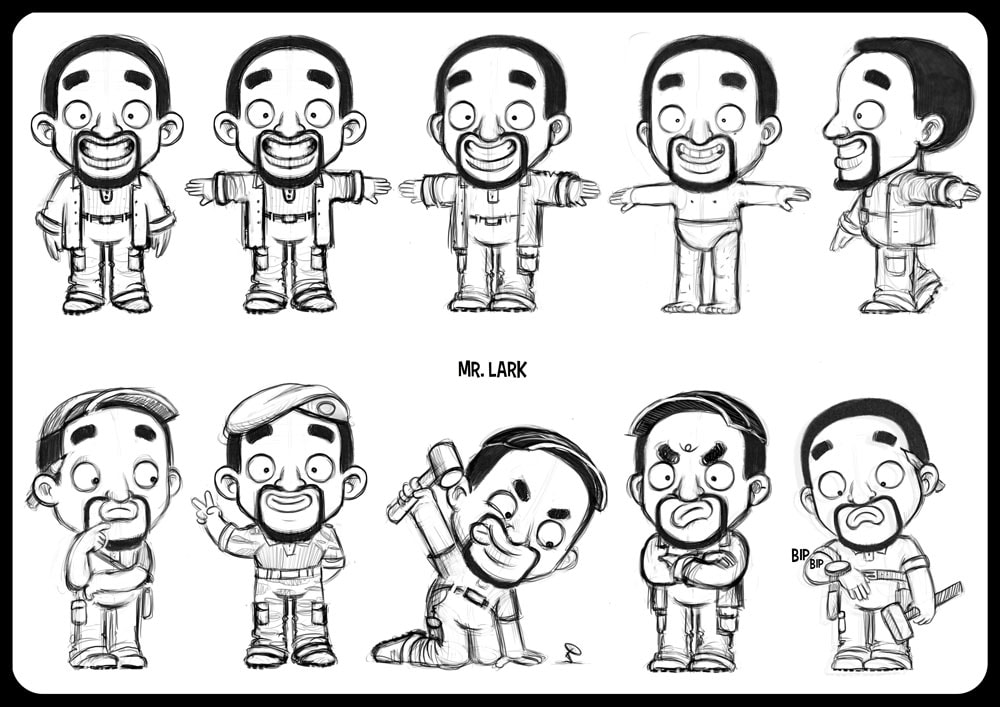 character design sheet in black and white with turnaround of a black funny man looking like will smith