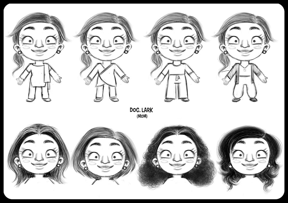 character design sheet in black and white with turnaround of a black woman looking like  Shilpa Shetty with different haircuts