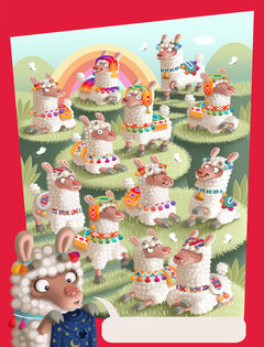 illustration for the game picture puzzler from Highlights magazine illustrated by Valentina Mendicino depicting a group of Peruvian llamas with different coloured decorations on green hills with a rainbow at the back