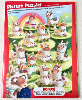photo of internal pages from highlights magazine illustrated by Valentina Mendicino depicting a group of funny and colourful Peruvian llamas with diverse decorations sitting on green hills with a rainbow at the back