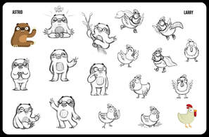 character design sheet with a graphic simple  2d flat design of a sloth and a chicken in different poses