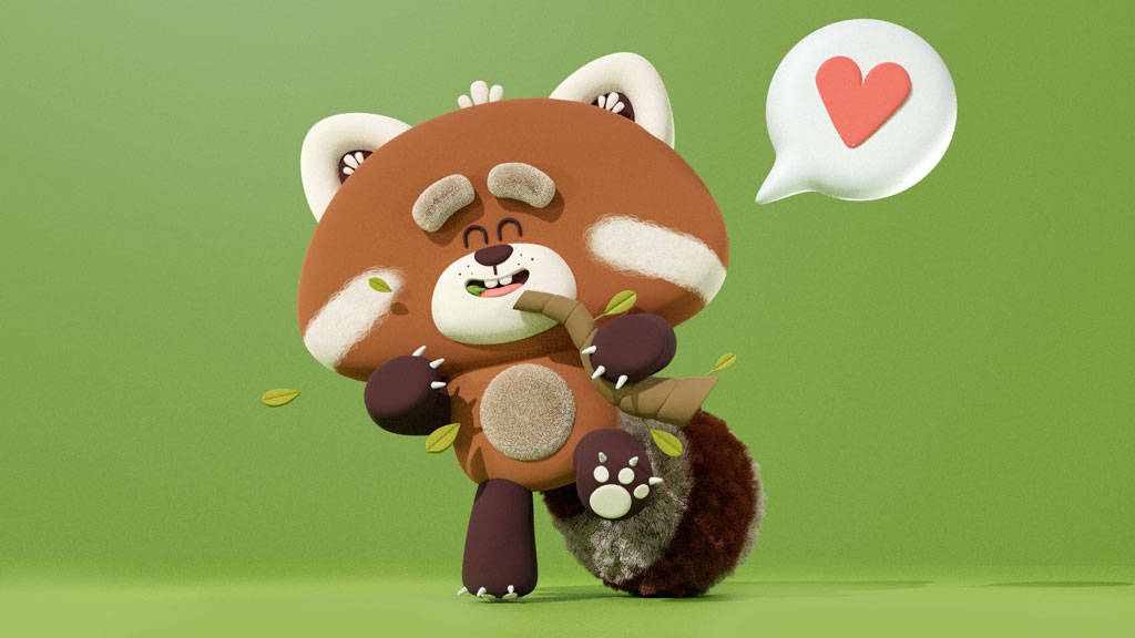 3d model of a red panda eating some bamboo with green leaves with a heart in a comic balloon in a green background