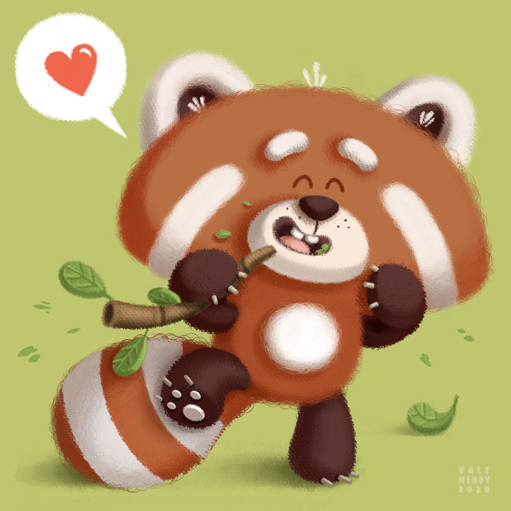 illustration of a red panda eating leaves in a green background with an heart in a balloon