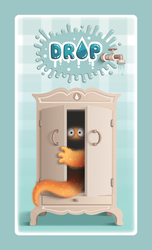 illustration design for the back of the card game DROP! depicting a monster coming out from a wardrobe in a light blue background