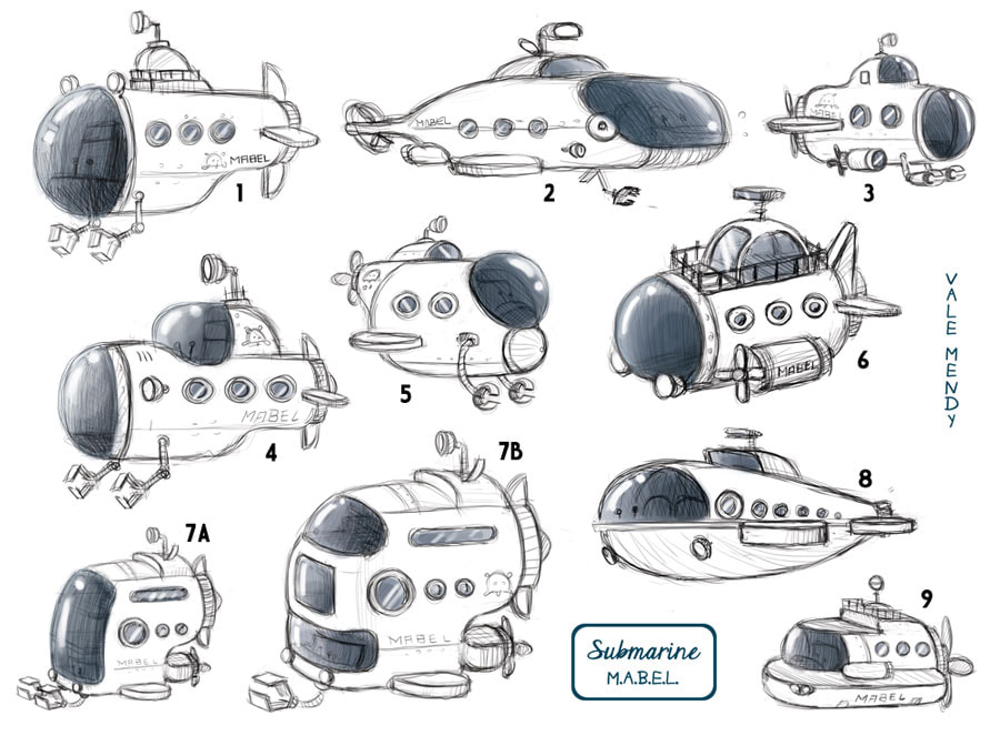 sketch of different designs for a submarine