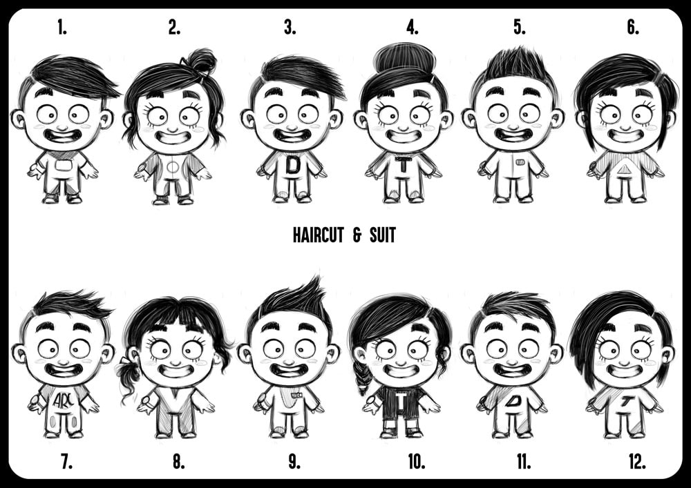 Character design sheet of different smiling kids with different haircuts and  clothes